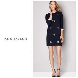 Ann Taylor - Faux Leather Dot Side Zip Dress